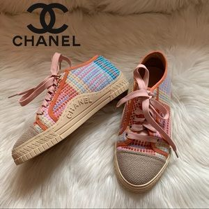 Authentic CHANEL CC Logo Tweed Multicolor Sneakers
